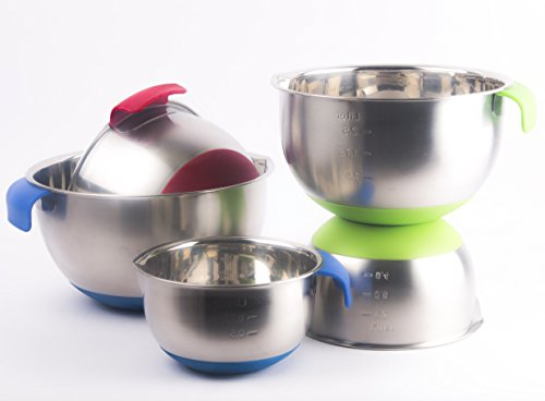 Stainless Steel Mixing Bowls by CiE. 5 Pcs mixing bowl set with colored Silicone Bottoms, Handle and pour Spout. by Craftit Edibles