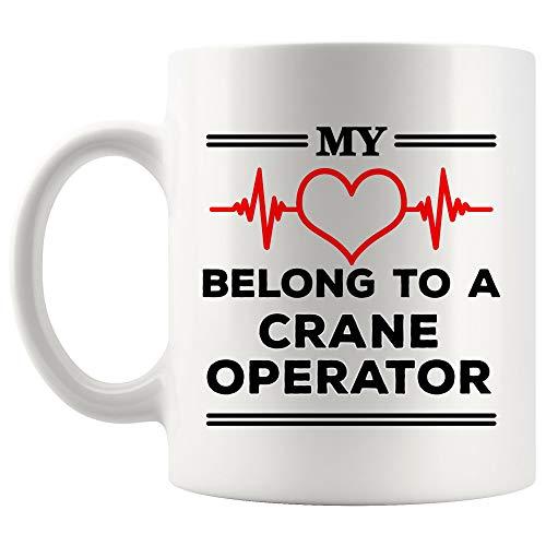 Husband Wife Couples Love Crane Operator Mug Coffee Cup My Heart Belong Boyfriend Girlfriend | Gift for 911 Operations Management Coffee Cup Crane Operator Mugs Freedom Gifts ()