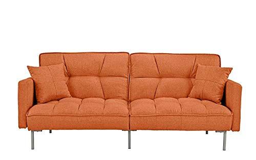 Rabinyod Bulan Sofas Modern Plush Tufted Linen Fabric Sleeper Futon 77 inchW x 31 inchD x 31 inchH inches Orange