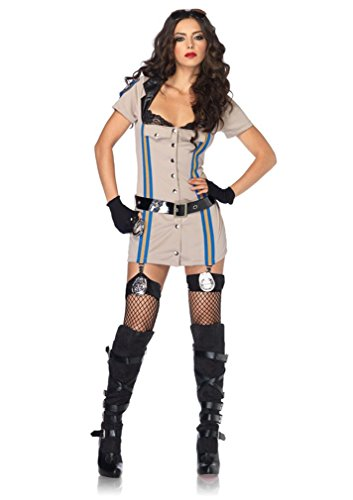 Leg Avenue Women's Highway Patrol Officer Costume, Tan, Medium - Highway Patrol Honey Costume
