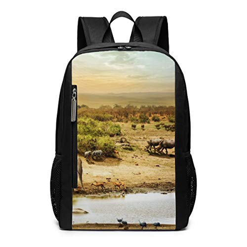 Sunset Elephant in South Africa Outdoor Travel Laptop Backpack Travel Accessories, Fashionable Backpack Suitable for 17 Inches