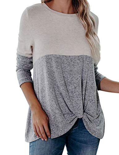N Women Color Block Twisted Front Tops Long Sleeves Casual Loose Sweatshirt White