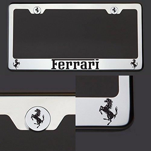 One Laser Engraved Black Ferrari Mirror Stainless Steel License Plate Frame Holder Front Or Rear Bracket Steel Screw Cap ()