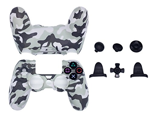 Ps2 White Skin (BRH NEW PS4 Controller Hard Skin Case Cover Humanization Design Armor Gear Case Protective Sleeve Accessories (camo))