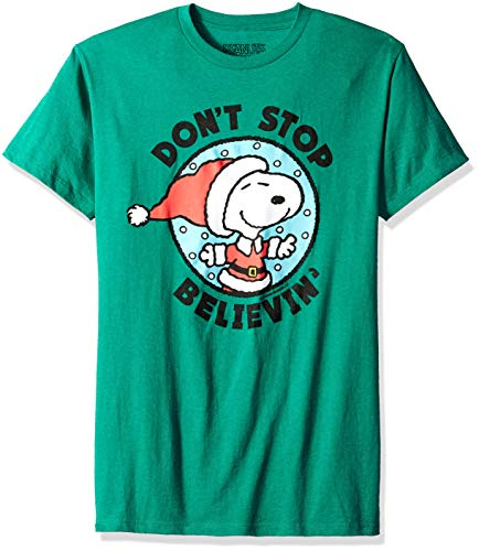 Peanuts Men's Snoopy Don't Stop Believing Christmas T Shirt, Green L ()