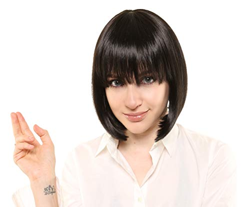 Mia Wallace Pulp Fiction Halloween Costume Deluxe Black Bob Wig -