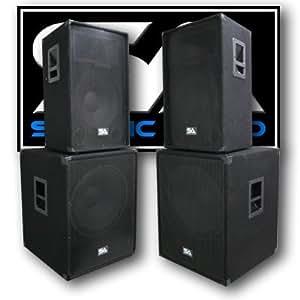 "Seismic Audio - Pair of 15"" PA DJ SPEAKERS 18"" SUBWOOFERS PRO AUDIO - Band, Bar, Wedding, Church"