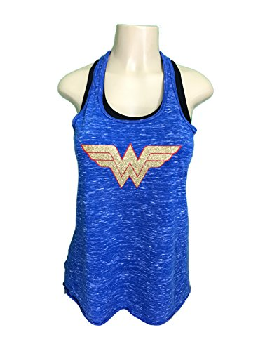 Wonder+Woman+Shirts Products : 'Wonder Woman' Flowy Women's Tank Top - HEATHER BLUE Glitter Polyester Blend Cover Up