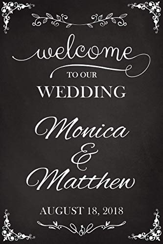 Welcome to Our Wedding, Custom Wedding Sign, Wedding Welcome Sign, Chalkboard Sign, Wedding Party Signs, Handmade Party Supply Poster Print, Custom banner and sign, Size 36x24, 18x24 -