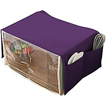 Toaster Cover/Microwave oven Broiler Appliance Cover,Heavy Duty Waterproof PU Plus Clear PVC Heat-Resistant Microwave Oven Dust Cover with Double Pockets Case Protections Protector CYFC405 (Purple)