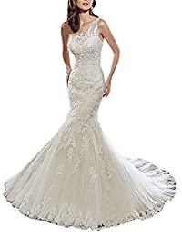 VEPYCLY Off Shoulder Lace Mermaid Wedding Dresses One Shoulder Bridal Gown