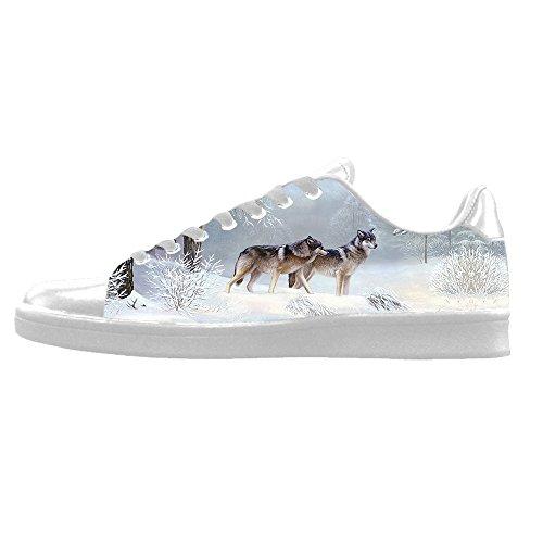 Dalliy Wolf und Mond Mens Canvas shoes Schuhe Lace-up High-top Sneakers Segeltuchschuhe Leinwand-Schuh-Turnschuhe B