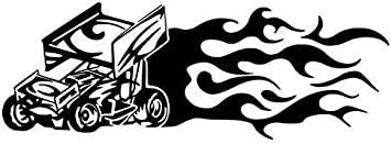 SPRINT CAR FLAME WINDOW STICKER  VINYL DECAL