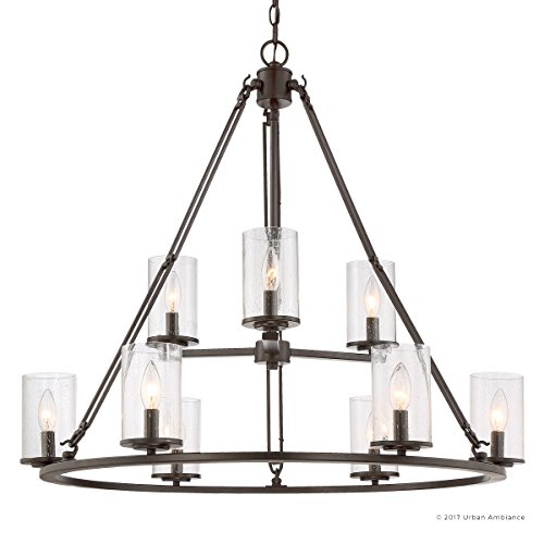 Luxury Industrial Chandelier, Large Size: 30''H x 33''W, with Western Style Elements, Rectangular Link Design, Elegant Estate Bronze Finish and Seeded Glass, UQL2131 by Urban Ambiance by Urban Ambiance (Image #7)