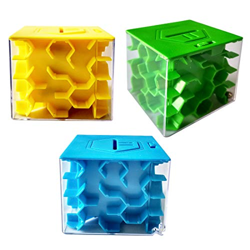 Petforu 3-Pack Money Maze Puzzle Box Brain Teaser Party Favors Challenging Gift Box Nice Alternative to Money Cards (1 Yellow + 1 Green + 1 Blue)