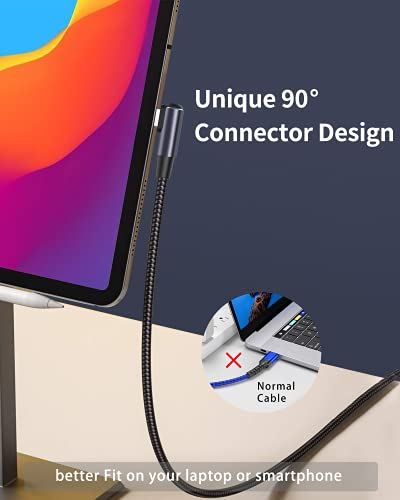 USB C Cable 100W 6.6ft, USB C to USB C Cable Right Angle USB Type C Cable 2 Pack,New Nylon USB C Charging Cable for Samsung Galaxy S20 S10 S9 S8 Plus Note 10 LG Google Pixel Moto