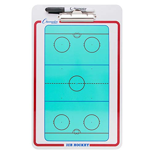 Champion Sports Large Dry Erase Board For Coaching Hockey - Whiteboards for Strategizing, Techniques, Plays - 2-Sided Boards with Clip - Front Side Full Rink - Backside Half Rink Close-up (Renewed)