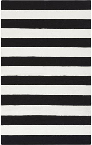 Surya Frontier FT-295 Flatweave Hand Woven 100 Wool Jet Black 8' x 11' Stripes Area Rug