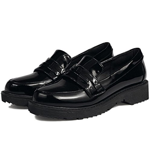 COOLCEPT Mujer Moda Tacon Bajo Vestir Zapatos 28 Black