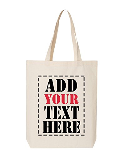 DESIGN YOUR OWN Canvas Tote Bag - Add Your Text Print - Reusable%100 Cotton Shopping Bag - Personalized Bag - Custom Canvas Tote