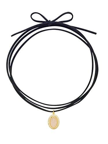 Sterling Forever Simulated Rose Quartz Pendant Choker Necklace