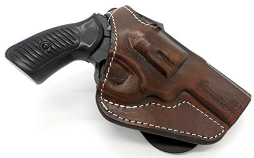 HOLSTERMART USA TAGUA Premium Deluxe Right Hand Rotating Paddle and Belt Holster with Thumb Break in Dark Brown Leather for Ruger SP101 Revolver, 3