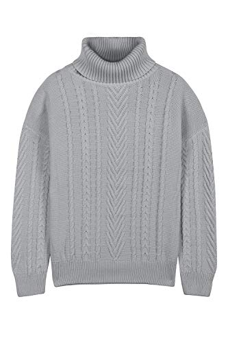 Pink Queen Women's 100% Cotton Cowl Neck Ribbed Cable Knit Long Sweater Jumper Grey M Cotton Cowl Neck Sweater