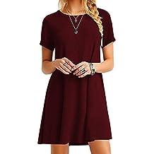 OMZIN Women Sleevesless Cotton Casual Sleeveless Flared Tank Dress XS-3XL