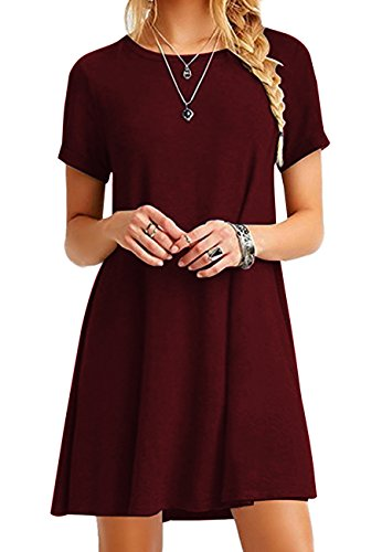 OMZIN Women's Tops Short Sleeve Lace Scoop Neck A-Line Tunic Blouse Wine Red S ()