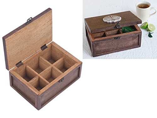 Collectible Wooden Tea Box Chest With 6 Compartments