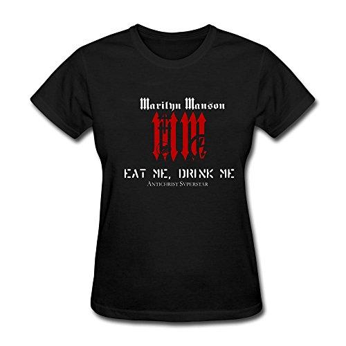 FengYun Women's Marilyn Manson MM Logo Short Sleeve T-shirt - Mm Short Sleeves Knit