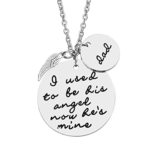 UdobuyMemorial necklace - I Used To Be His Angel Now He's Mine Dad Angel Wing Hand Stamped Dad Necklace for Memorial Gift Sympathy Gift