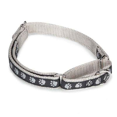 Guardian Gear Paw Print Martingale Collar, 14 to 20-Inch, Black