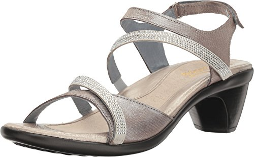 NAOT Footwear Women's Innovate Heel Silver Threads Lthr/Beige w/Clear Rhinestones 8 M US