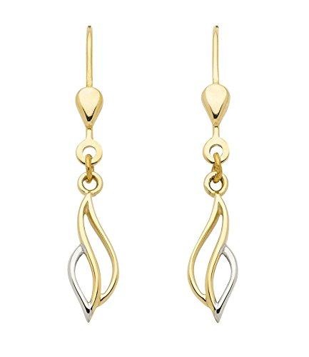 Boucles d'oreilles pendantes en or 3338carats rhodié