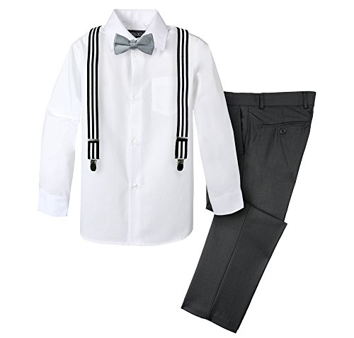 Spring Notion Boys' 4-Piece Suspender Outfit 07 Charcoal/Stripes Black White