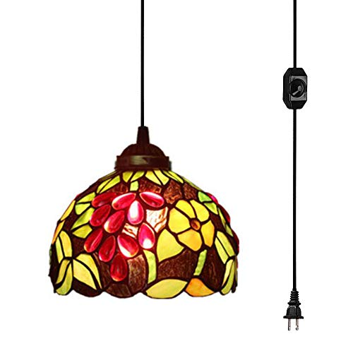 (KIVEN Plug-in Tiffany Style Grape 7.9 Inch Pendant Lamp Retro Lighting 15ft UL Certification Black Cord with On/Off Dimmer Switch, Bulb Sold)