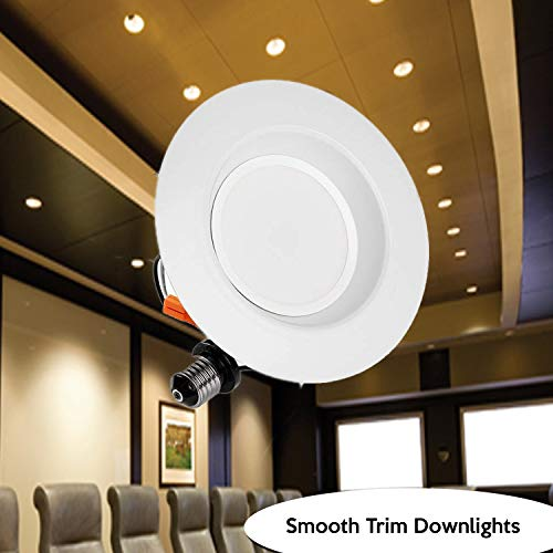 4'' NG LED Smooth Trim Downlight,650 Lumens, 3000K 10W, Recessed Retrofit, ETL Listed, Energy Star (6 Pack) by EZ In Touch With Tomorrow (Image #1)
