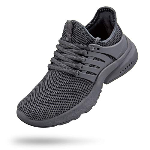 Troadlop Boys Sneakers Lace-up Running Tennis Athletic Shoes Kids Grey Size 1 M US Little Kid