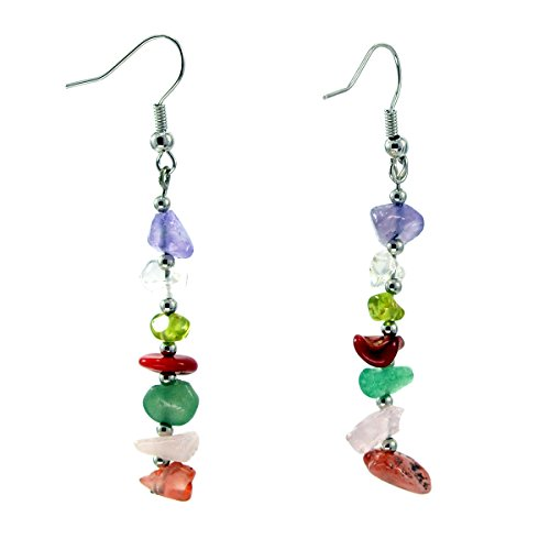 Color Chip Stone Multi - Paialco Mixed Natural Crystal Beads 7 Chakra Gemstone Hook Earrings