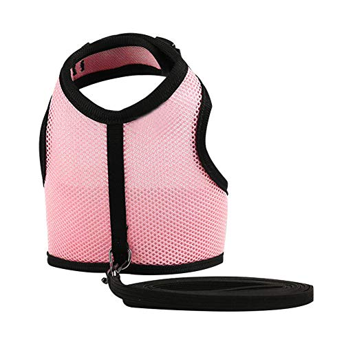 Ouken Rabbit Harness Leash Kit L Pink for Cat Ferret Guinea Pig Small Animal Adjustable Bunny Harness with Lead