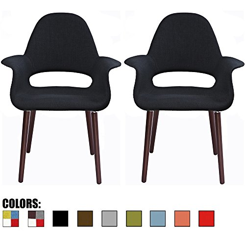 2xhome – Set of 2, Black Mid Century Modern Upholstered Fabric Organic Accent Living Room Dining Chair Armchair Set with Back Armrest Dark Walnut Wood Wooden Legs for Kitchen Bedroom