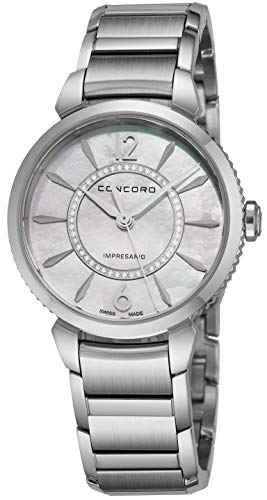 Concord Impresario Womens Stainless Steel Diamond Swiss Quartz Watch - 32mm Mother of Pearl Dial and Sapphire Crystal - Swiss Made Classic Analog Ladies Dress Watch 0320314