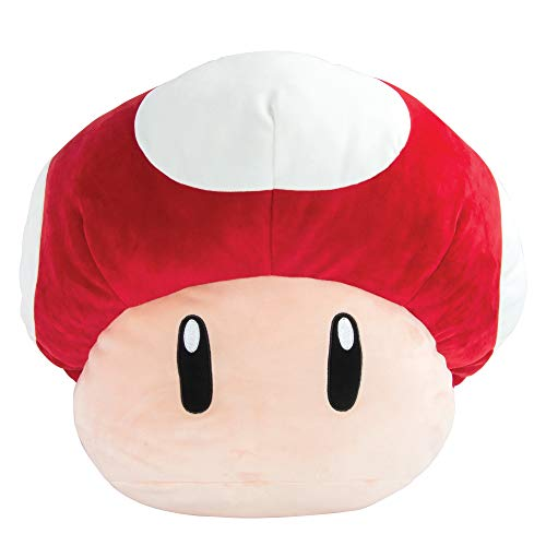 Club Mocchi Mocchi Super Mario Jumbo Mushroom Plush Toy for Kids, Red