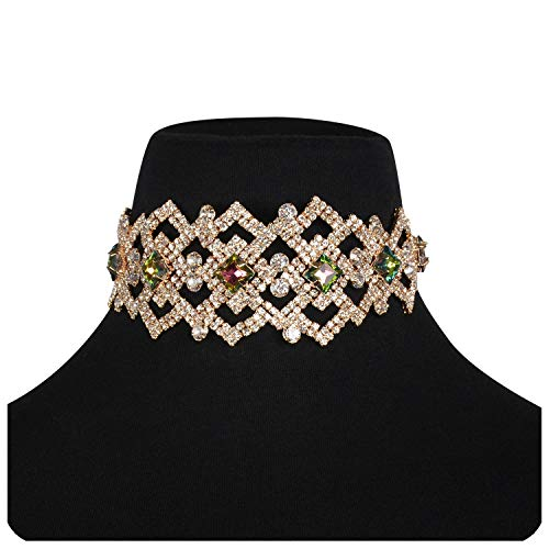 Holylove Choker Necklace for Women Statement Jewelry Collar Bib Gold Chain Holiday Vacation Wedding Party Casual Fashion Colorful Accessory with Gift Box - N49 ()