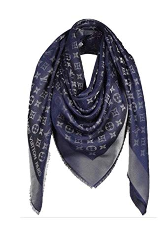 Monogram Denim Shawl in Navy/Gold Scarf -Pashmina Wrap Replica Scarf -Designer Inspired Scarves Luxurious High End Quality Fabric Fashion Accessory Large Cashmere-Silk Blend Classic Print