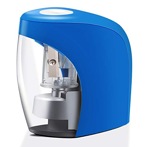 Electric Pencil Sharpener, Kids Friendly and Safety Design Pencil Sharpener for NO.2 Pencils, Auto Feature for Classroom, Home and Office, USB Cable Included (Blue, S)