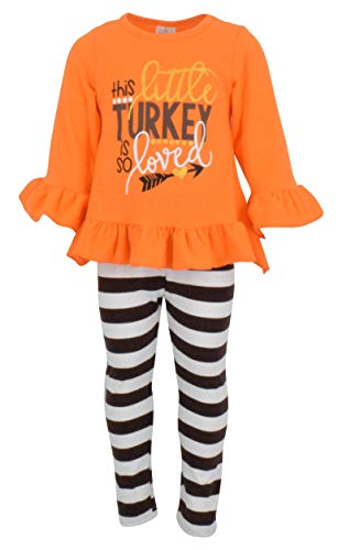 Unique Baby Girls 2 Piece This Little Turkey is Loved Thanksgiving Outfit (4t/M) Orange]()