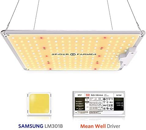 Spider Farmer SF 1000 LED Grow Light with Samsung Chips LM301B Dimmable Mean Well Driver, Sunlike Full Spectrum 3000K 5000K 660nm 760nm IR for Indoor Plants Veg Flower