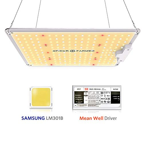 Spider Farmer SF-1000 LED Grow Light with Samsung Chips LM301B & Dimmable MeanWell Driver Sunlike Full Spectrum Plants Lights for Indoor Veg and Flower Growing Lamp